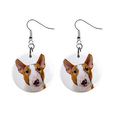 Cute Funny BULL TERRIER Face Dog Puppy Lovers Gift Dangle Metal EARRINGS Jewelry