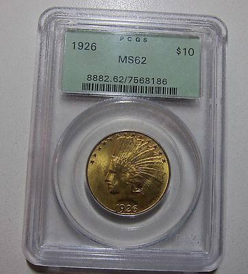1926 $10.00 $10 10 Dollar Full Eagle Gold Indian Liberty Head Us Coin Ms62 Pcgs