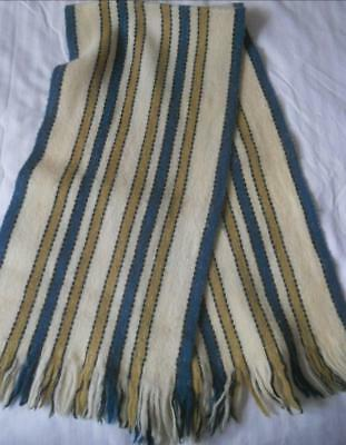 Vintage 1960's Blue Cream Beige Stripes Pure Wool Scarf Gales Made Australia