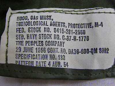 Military M-4 Gas Mask Rubber Hood Toxicological Agents 1956 Dated W/ Pouch