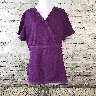 Koi Sz XL Women's Scrubs Ruffle Floral Design Short Sleeve Purple