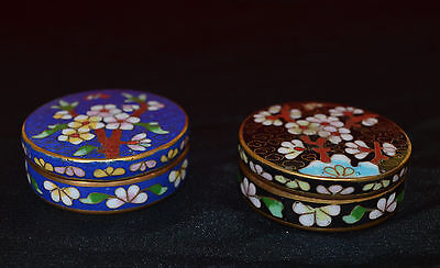 2 Vintage  Cloisonne Round Boxes Tree Flowers And Butterfly Design