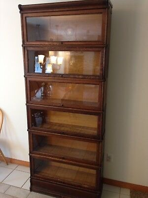 Antique Macey Oak 6 Stack Bookcase Book Shelf Lawyers Cabinet