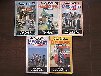 5 x THE FAMOUS FIVE Vintage PB Books Enid Blyton #5,7,11,14,21 Matching TV Cover
