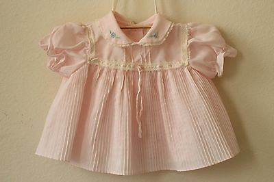 vintage baby clothes dress embroidered baby girl pink