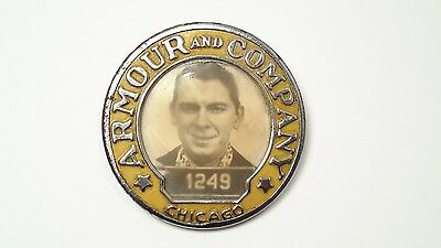 Vintage Armour and Company Meats employee photo ID badge pin pin back Chicago