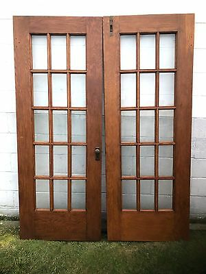 "PAIR (2) ANTIQUE 30 x 79 1/2"" FLAT GLASS OAK WOOD 15 PANE FRENCH DOUBLE DOORS"