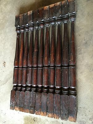 "11 Antique 23 1/2"" Oak Wood Stair Staircase Porch Railing Balusters Spindles"