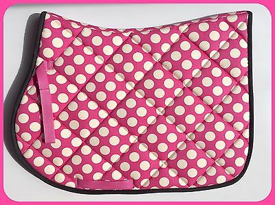 **clearance** Pink White Black Spot Quilted Horse Saddle Pad Cloth