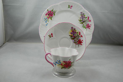 Shelley Dainty Stocks Trio - Cup, Saucer and Side Plate