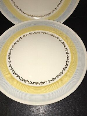4 Candle Light American Limoges Warranted 22-k Gold Tiara Yellow Dinner Plates
