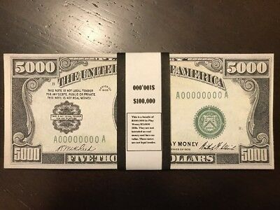$100,000 In Prop/Play Money 1928 $5,000 Bills USA Actual Size James Madison
