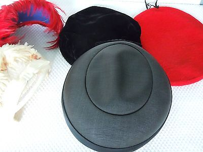 5 Vintage 1940/50s-HATS-Cocktail Feathers-Boy Scout-Straw-Velvet Beret-Millinery