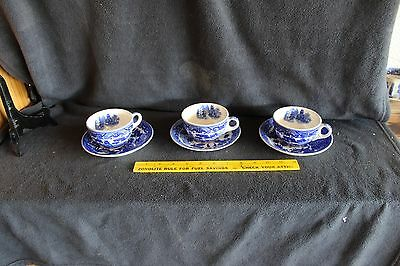 House of Blue Willow 3 Cup and Saucers Made in Japan