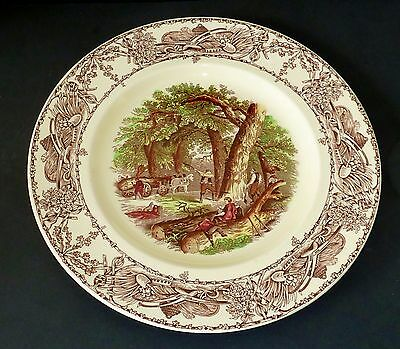 VINTAGE Wilkinson HAND PAINTED o/transfer RURAL SCENES dinner display cake plate