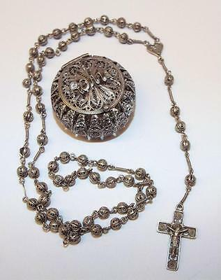 Silver Rosary in 800 Case Marked ROMA .915 Ozt.