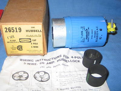 HUBBELL #26519 HBL26519 Hubbellock Plug Grounded 60A 600VAC 4-Pole 5-Wire - NEW