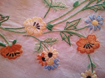 """Stylised Flowers ~Blue/Rust/Gold ~ Vintage Hand Embroidered Tablecloth 41"""" x 42"""""""