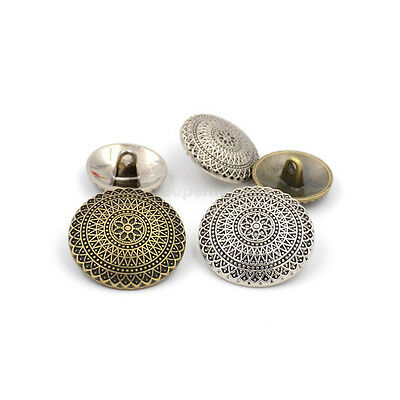 10pcs Silver Bronze Flower Metal Round Shank Buttons Coat Sewing Embellishment