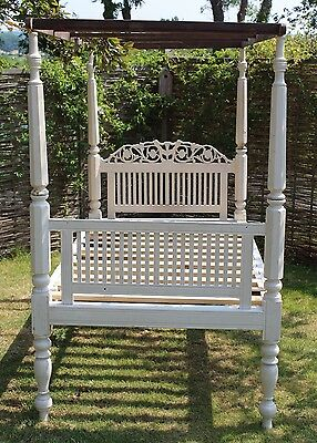 White Painted Wood Ornate 4 Poster Bed Shabby Chic Project *DELIVERY AVAILABLE*