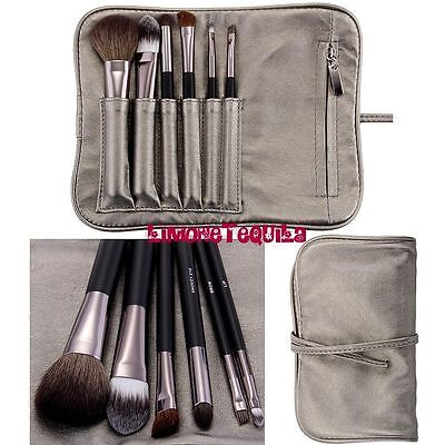 Set 7 pennelli professionali con custodia grigia per Make Up Cosmetic Brush Kit