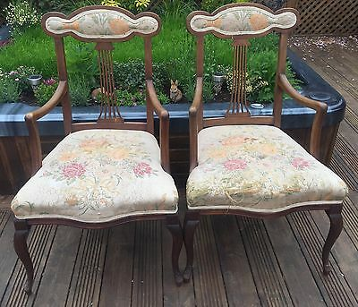Beautiful Pair Of Mahogany Edwardian Parlour Chairs With Worn Upholstery