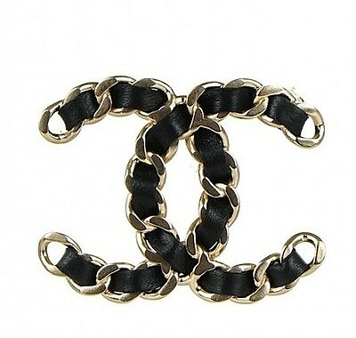 CHANEL CC Logo Gold Link Chain with Leather Pin Brooch NEW 2016 FALL * Harrods *
