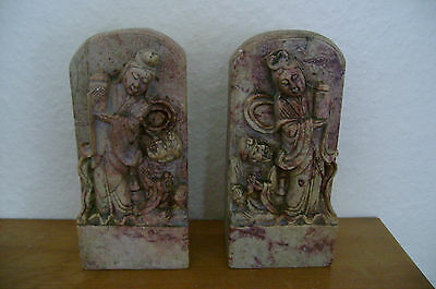 A Superb Matching Pair Of Intricately Carved Figural Chinese Soapstone Bookends.
