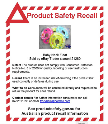 PRODUCT SAFETY RECALL-Baby Neck Float