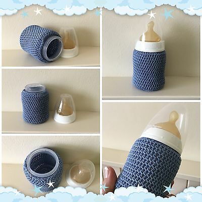 Hand crocheted Blue Baby Bottle cover for NUK 150ml / 5oz ~ New Baby Gift