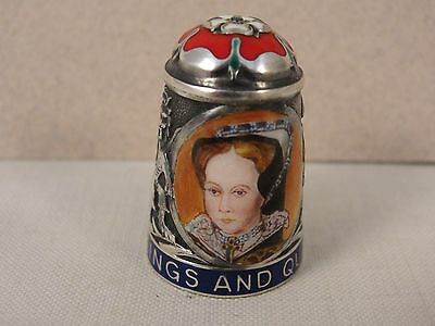 Peter Swingler Silver & Enamel THIMBLE: QUEEN MARY I. Kings & Queens Series