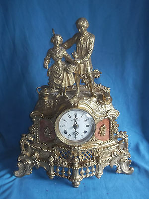 Lovely 19th Century Style French Gilt Brass Mantle Clock With FHS Movement Germa