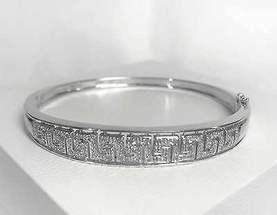 9Ct SOLID WHITE GOLD with 0.25 Ct DIAMONDS Greek Key Design Bangle BRACELET