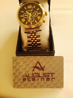 American August Steiner Stainless Steel & Gold Plated Chronograph Bracelet Watch
