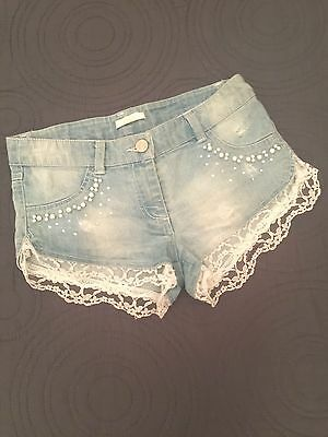 SHORT JEANS MISS GRANT 8/10 ANNI euro240 PERLE STRASS BY MONNALISA BAMBINA PIZZO