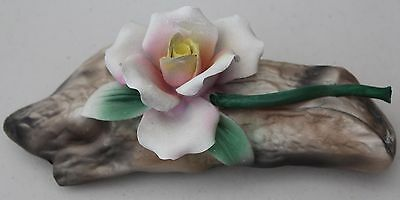 Capodimonte Hand Painted Single Rose on a Log L#1228