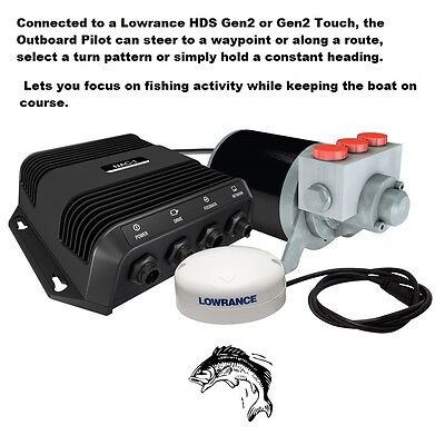 Lowrance Outboard Pilot Hydraulic SmartSteer™ Pack Steers Your Outboard Motor