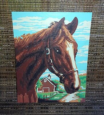 """Vintage Paint by Numbers Horse & Barn Picture Painting 8"""" by 10"""" 1950's unframed"""