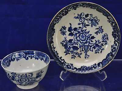 Worcester 18th Century Blue Transfer Flower Spray Cup and Saucer 1780