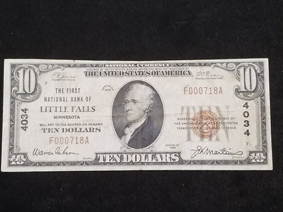 1929 $10 Little Falls Minnesota National Banknote 4034 MN