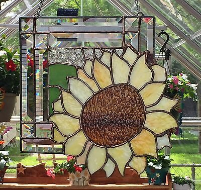 "STAINED GLASS ART WINDOW PANEL SUNCATCHER SUNFLOWER TIFFANY STYLE 11""x11"""