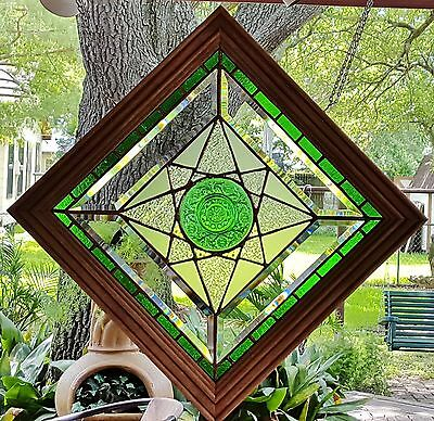 Stained Glass Window Art Panel Sun Catcher Tiffany Style Wood Frame