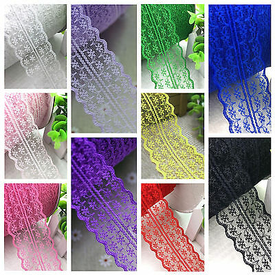 45mm Fabric Embroidered Net Lace Bilateral Trim Ribbon Sewing 1m / 5m
