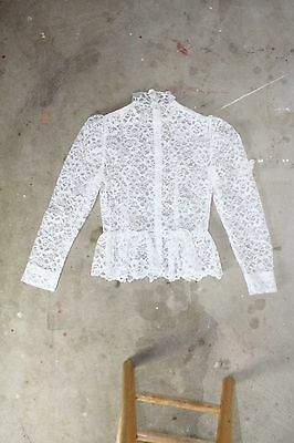 Vintage Lace Shirt White Peplum Puff Sleeve Blouse Sheer Half Collar Top S