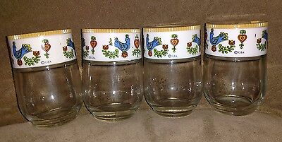 GEA Gemco USA Glass Spice Containers, Lot of 4, with Bird, Heart Decor; Vintage!