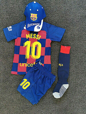 New 2018 Kids Soccer Jersey  #10 Messi Barcelona Set Top+Short