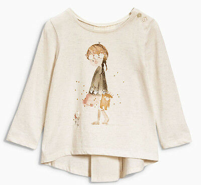 Next Girls 18-24 Months Ivory T-shirt Top 100% Cotton Watercolour 1.5-2 Years