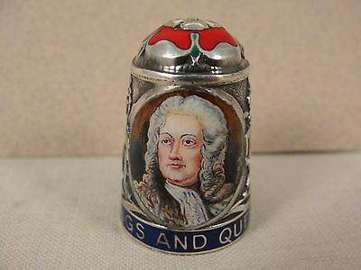 Peter Swingler Silver & Enamel THIMBLE: KING GEORGE II. Kings & Queens Series