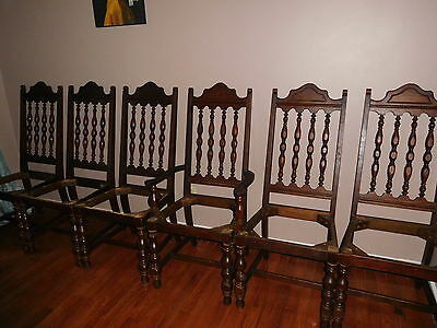 Antique/Vintage Gothic Oak Dining Chairs Set For Restoration