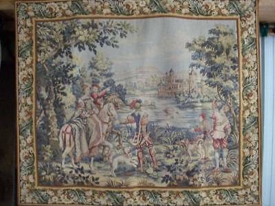 Vintage French Chateau Woven Aubusson Style Goblins  Hunting Scene Tapestry